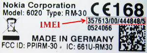 Nokia 6020 IMEI label