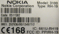 Nokia 3100 IMEI label